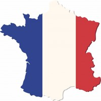 French map with flag of France. Vector illustration.