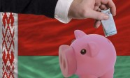 Funding euro into piggy rich bank national flag of belarus